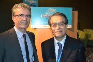 Philippe Guiberteau diceteur du CEA Marcoule et Chigeo Nomura, directeur exécutif de NDF, la société japonaise qui pilote la stratégie de démantèlement de la centrale nucléaire de Fukushima.